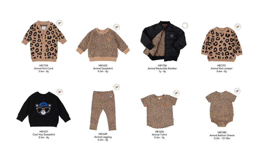 New season styles in leopard animal print and organic cotton from Huxbaby Be Happy Collection.