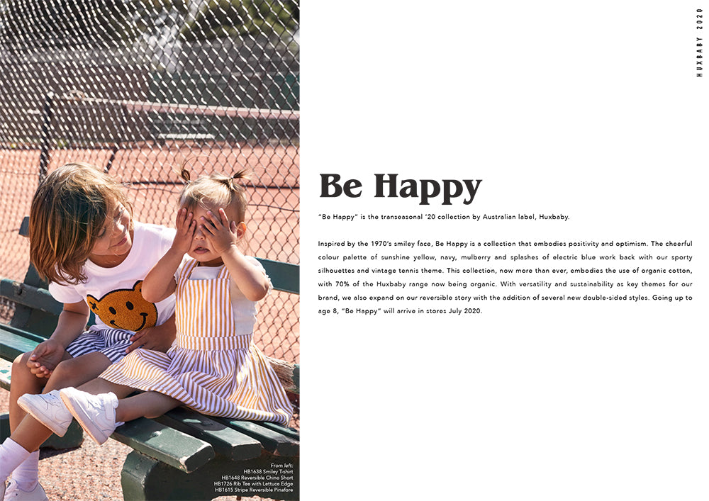 Huxbaby look book for new collection titled Be Happy. A gorgeous range of organic cotton clothes for babies and children.