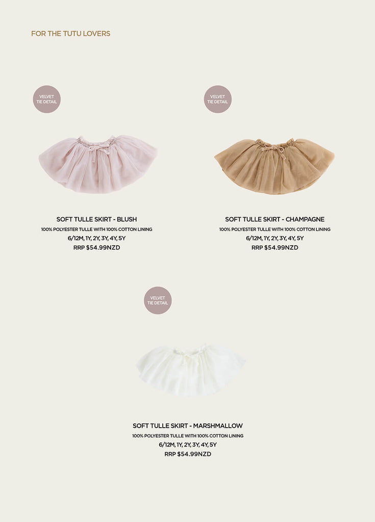 New Jamie Kay Carousel Look book featuring gorgeous new tutu skirts in pastel tones for your little dancer.