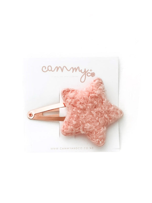 Cammy + Co Sherpa Star Clip - Pink