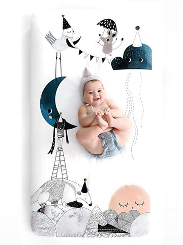Fitted Cot Sheet - The Moon's Birthday - PRE-ORDER