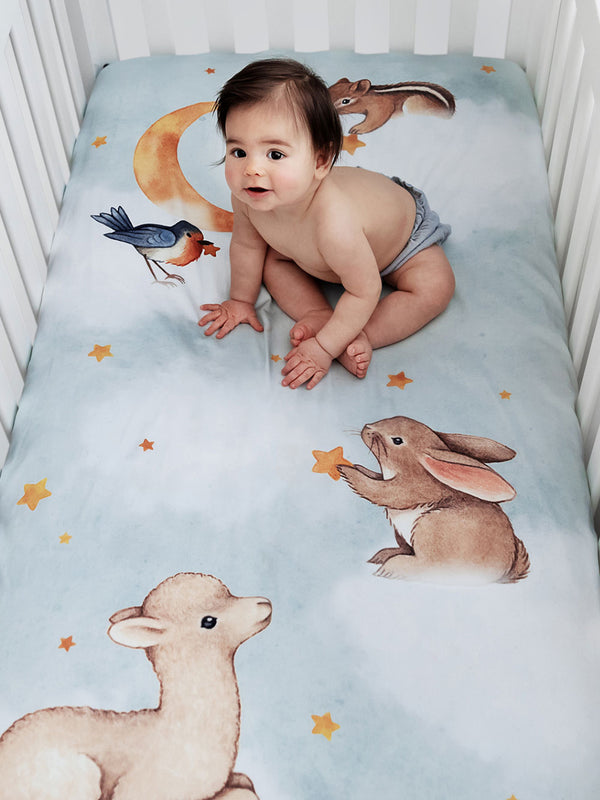 Fitted Cot Sheet - Goodnight Wonderland