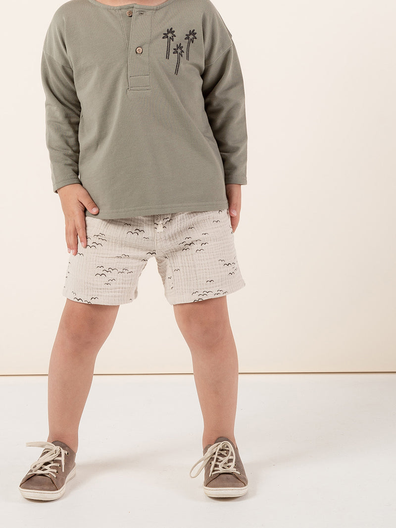 Rylee + Cru Henley Sweatshirt - Palm Tree