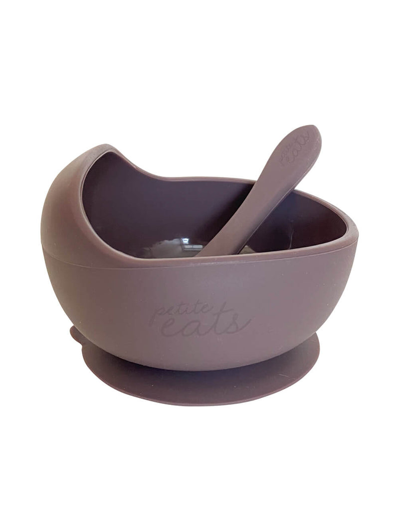 Petite Eats Silicone Bowl and Spoon - Plum