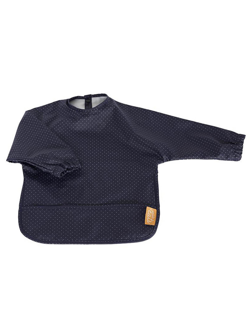Petite Eats Sleeved Bib - Navy Polka Dot