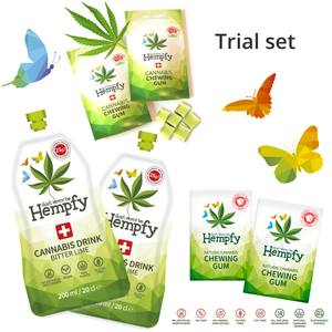 Hempfy products, trial set 4 gums and 2 drinks