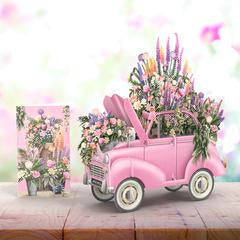 Me&McQ 3D Greetings Card - The Pink Flower Car