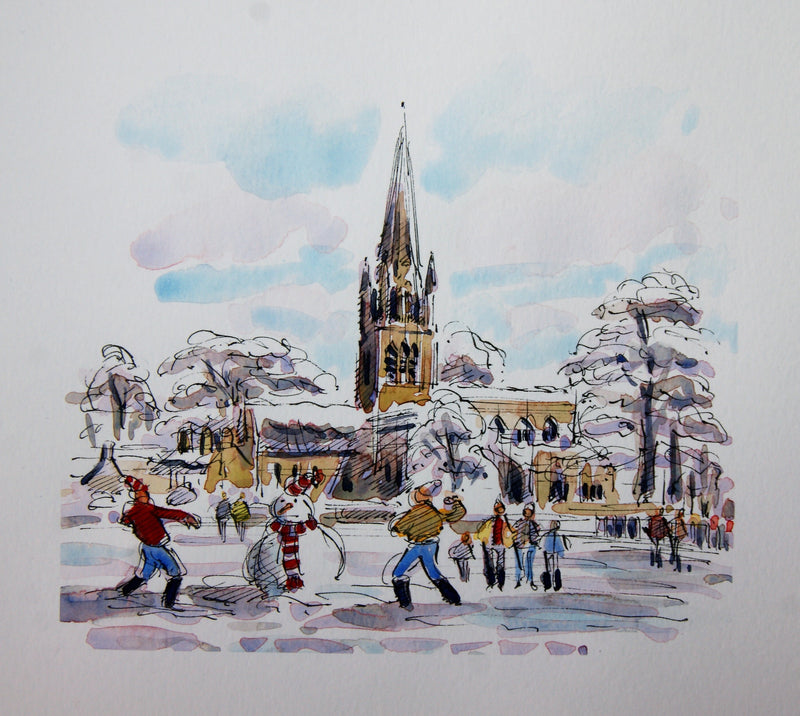 Set of 5 Cards - Fun & Games in the Snow, Church Green Witney