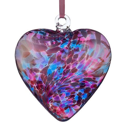 Sienna Glass - 8cm Friendship Heart - Blue & Pink