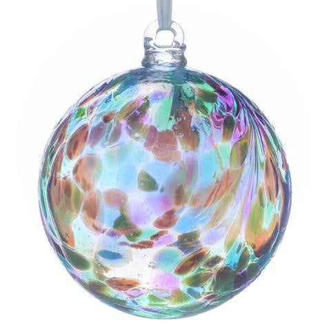 Sienna Glass - 10cm Friendship Ball - Feather Design - Peacock