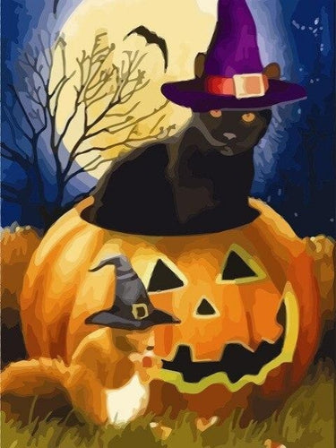 paint by numbers halloween witches animals