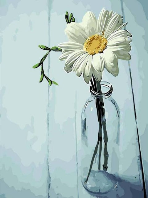 flowers paint by numbers white daisy