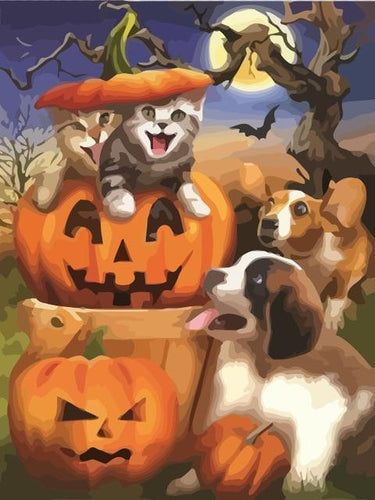 paint by numbers halloween cats and dogs