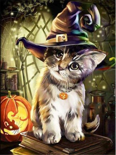 halloween paint by numbers cat witch
