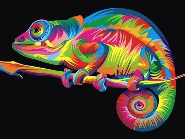 paint by numbers neon chameleon