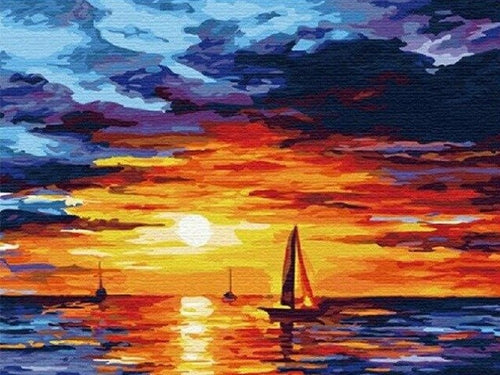 paint by numbers ocean sunset