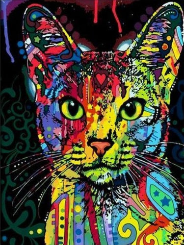 paint by numbers abstract cat