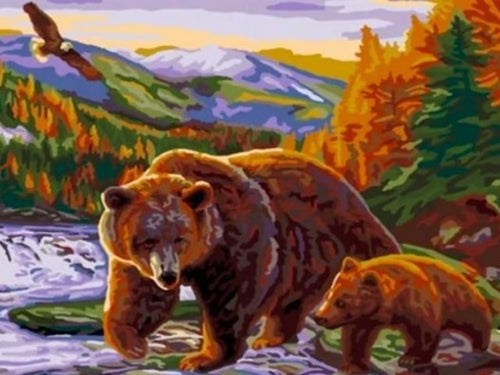 paint by numbers bear and cub