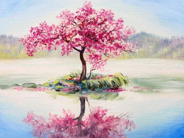 paint by numbers blooming cherry tree