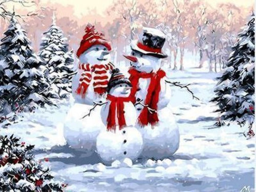 paint by numbers christmas snowman family