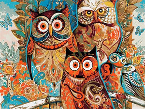 paint by numbers colorful owls