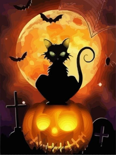 paint by numbers halloween fullmoon cat