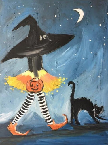 paint by numbers halloween with and cat