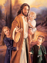Load image into Gallery viewer, paint by numbers jesus and children