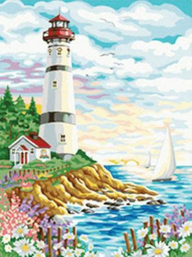 paint by numbers lighthouse at the sea