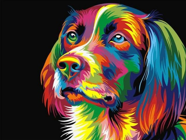 paint by numbers neon dog