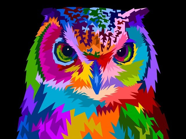 paint by numbers neon owl