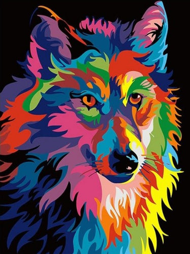 paint by numbers neon wolf
