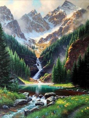 paint by numbers rocky mountains waterfalls