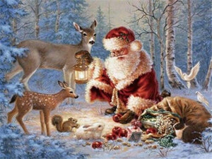 paint by numbers santa with animals
