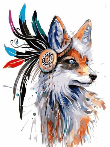 paint by numbers tribal fox