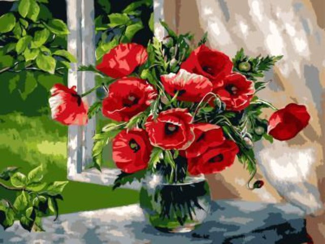 paint by numbers poppy flowers on windowsill