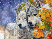 Load image into Gallery viewer, wolf paint by numbers wolves in the snow