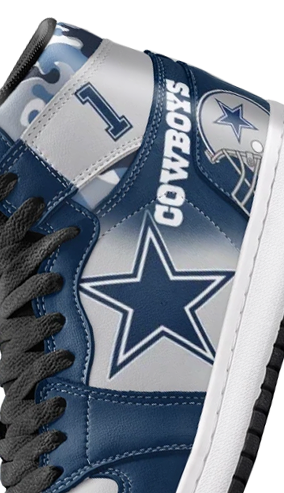 Dallas Football Leather High Top Shoes