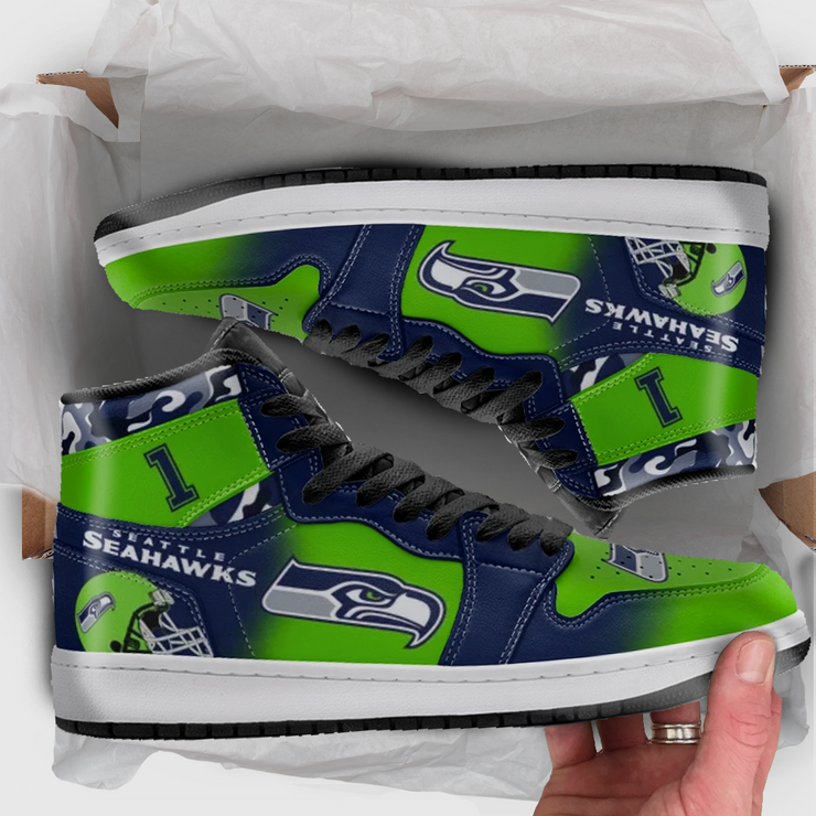 Seattle Football Leather High Top Shoes