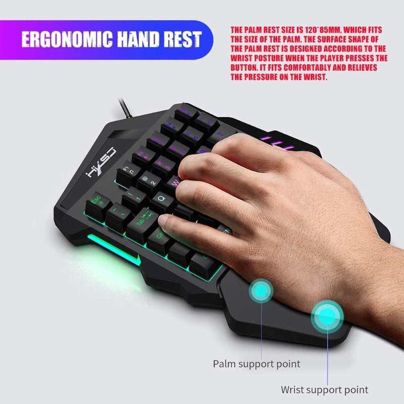 Thunder Wolf V100 One-Handed Gaming Keyboard and Mouse