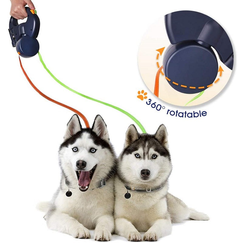 Retractable Double Dog Lead