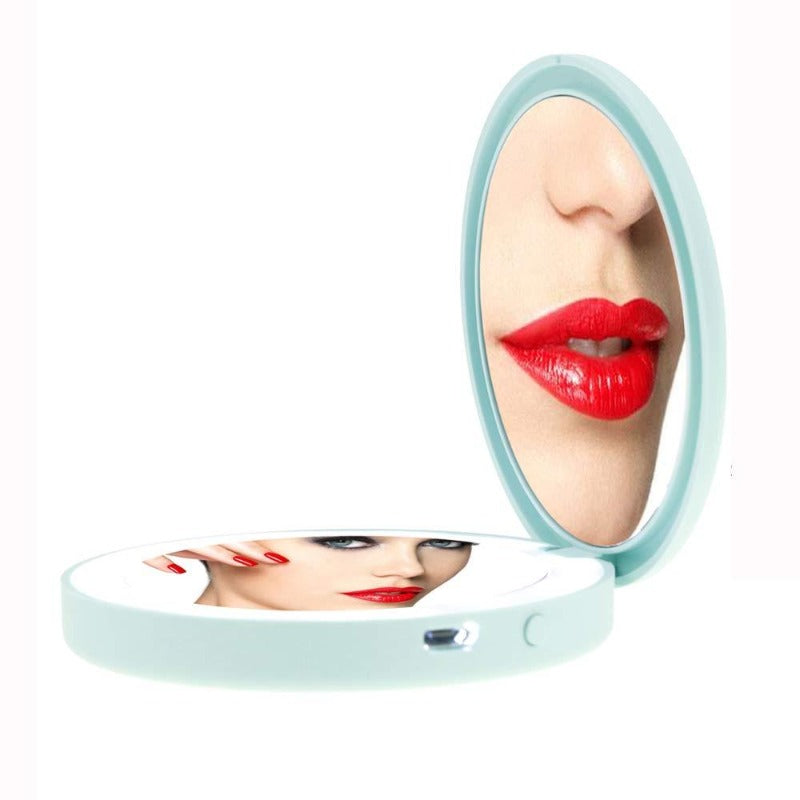 Compact LED Pastel Makeup Mirror