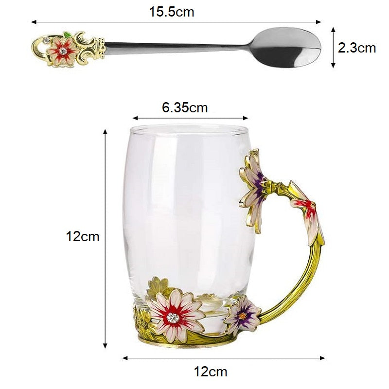 Beautiful Enamel Crystal Glass Tall Mug