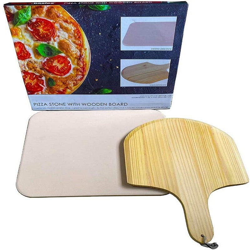 Pizza Stone with Wooden Board