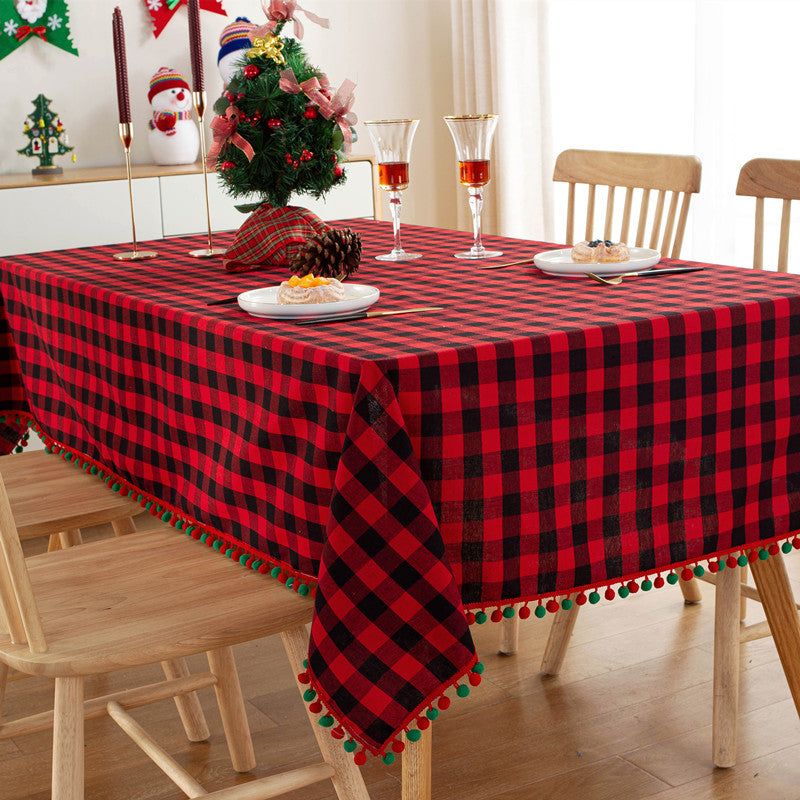 Checkered Tablecloth with Pompoms