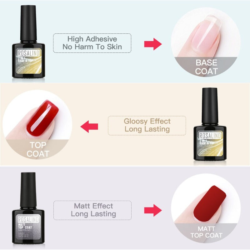 Rosalind 2-in-1 Top and Base Coat + Matte Top Coat