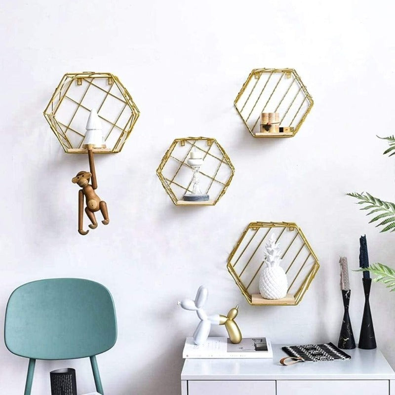 Hexagonal Shaped Shelf 2 Pack