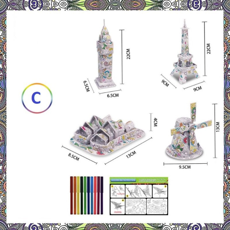3D Colouring-In Jigsaw Puzzle