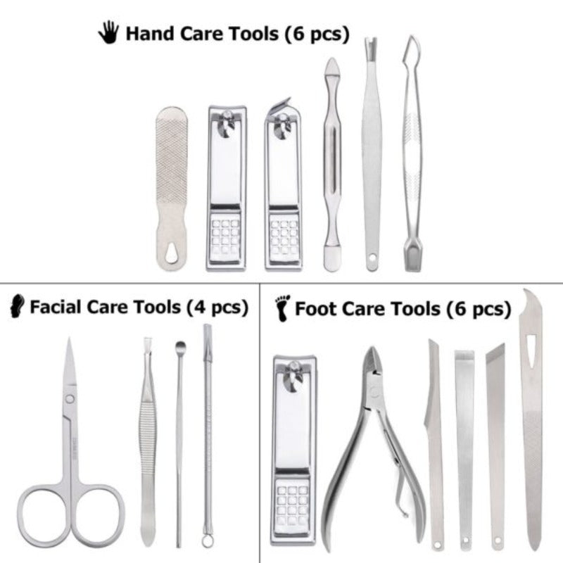 16 Piece Nail Tool Set With Hard Case