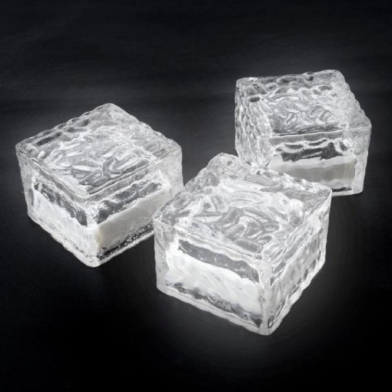 Solar Light Ice Cube Brick Blue 10cm Outdoor